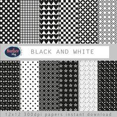 Digital paper BLACK AND WHITE scrapbook Black stars, black polka dot gingham paper heart paper grey digital paper black white checkerboard #bestofEtsy #digitalpaper