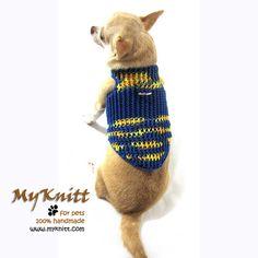 Blue Yellow Football Soccer Dog Collar Sweater Pet Harness D by myknitt #football #soccer #sport #dog #cute #pets #crochet
