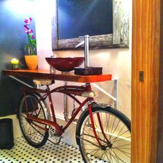 Awesome bike sink I saw @ local bike shop in Jax Beach. Open Road Cycling