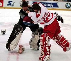 Former Colorado Avalanche goalie Patrick Roy & Former Detroit Red Wings goalie Mike Vernon. O. M. G.