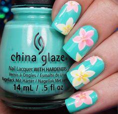 Plumeria Flower 🌸 Nails Tiffany Blue, Yellow, and Pink Tropical Floral Plumeria Nails. Hawaii Nails, Beach Nails, Nails Opi, Toe Nails, Gorgeous Nails, Pretty Nails, Vacation Nails, Floral Nail Art, Fancy Nails