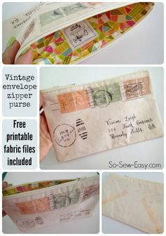 Vintage Envelope Zippered Pouch ~ Print Your Own Fabric ~ Tutorial ~ So Sew Easy