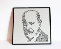 Sigmund Freud - drawing of the psy with Biographical detail in the portrait - Ltd Edition of 100 prints - psychology by DrawInside on Etsy