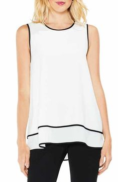 Vince Camuto Double-Layer Colorblock Top