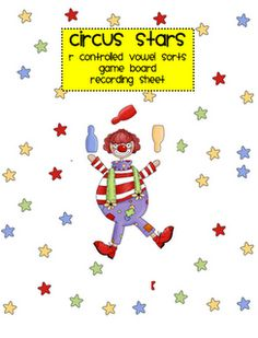 Free! R-controlled vowels circus stars printables and game.