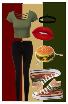 Burger! by cjmax on Polyvore featuring LE3NO, Current/Elliott, Junk Food Clothing, The Flexx, Lime Crime and Converse