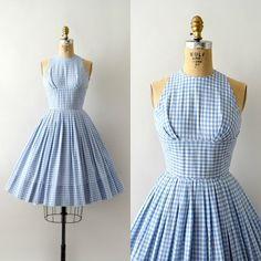 SOLD 💥 SOLD Vintage sundress, blue gingham cotton, fitted bodice with empire bust and faux halter neck, fitted waist, very full… 1950s Fashion Dresses, 1960s Dresses, Vintage 1950s Dresses, Short Sleeve Dresses, Fashion Outfits, Vintage Fashion 1950s, Dress Fashion, Vintage Clothing, Vintage Outfits
