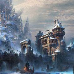 the drake castle entrance Fantasy City, Fantasy Castle, Fantasy Places, High Fantasy, Fantasy Rpg, Dark Fantasy Art, Fantasy Artwork, Fantasy World, Cosmos