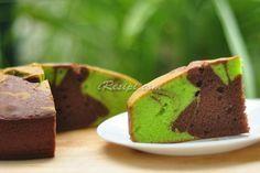 Resepi Kek Pandan Marble, tekstur yang lembab dan mudah disediakan.