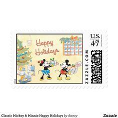 Classic Mickey & Minnie Happy Holidays Postage Stamp