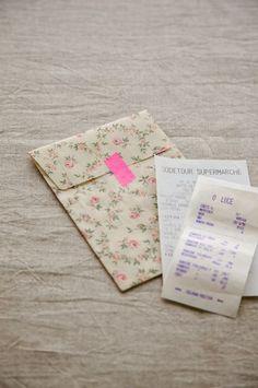 散らかりやすくてなくしやすい、領収証などをまとめておくのにぴったりな封筒です。/布で作る小さな袋とBOX(「はんど&はあと」2012年1月号)
