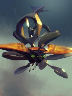 Drone-moth, Sergey Kolesov on ArtStation at https://www.artstation.com/artwork/drone-moth