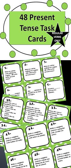 More than just fill in the blank, these 48 task cards give students a well-rounded review of the present tense through a variety of objectives. Regular verbs only!