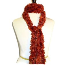 Hand Knit Fluffy Scarf in Autumn Leaves Colors