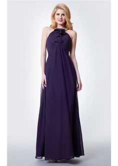 Floor Length  Halter A-line Grape Chiffon Sleeveless Zipper Ruched Bridesmaid Dresses