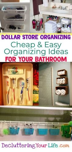 Dollar Store Organizing - Bathroom Organization Ideas On A Budget - Bathroom Organization Hacks & Cheap DIY Bathroom Storage Ideas using Dollar Stores organization stuff for under sink, make up, counter space, towels, shelves and more dollar store DIY org Dollar Store Organization, Small Bathroom Organization, Storage Organization, Diy Storage Ideas For Small Bathrooms, Small Storage, Craft Storage, Storage Racks, Towel Storage, Creative Storage