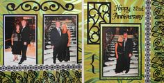 Cruise travel scrapbook 2 page layout of a formal night dinner with scrolls from Cricut's Ornamental Iron. This layout would also be great for a Wedding or Prom page.- from Travel Album 7 - Cypress
