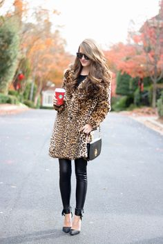 leopard faux fur coat, also love this one // Tory Burch Britten convertible clutchblack sweater...