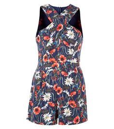 Parisian Navy Floral Print Playsuit