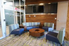 Coalesse Circa Lounge welcomes guests and employees in the reception area of Life EMS.