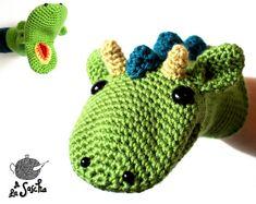 Dragon Puppet crochet pdf pattern INSTANT DOWNLOAD door AlaSascha