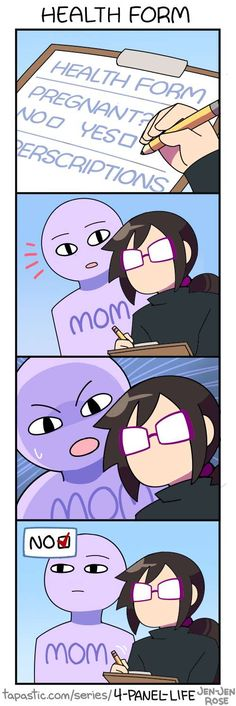 Pretty sure all mothers do this.... 4-Panel Life :: HEALTH FORM   Tapastic Comics - image 1