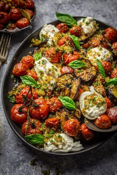 Grilled eggplants, roasted tomatoes and burrata cheese with .- Gegrillte Auberginen, geröstete Tomaten und Burrata-Käse mit Knoblauch Herb Br… Grilled eggplants, roasted tomatoes and burrata cheese with garlic herb breadcrumbs - Vegetarian Recipes, Cooking Recipes, Healthy Recipes, Food52 Recipes, Diet Recipes, Ramen Recipes, Gnocchi Recipes, Bariatric Recipes, Vegan Meals