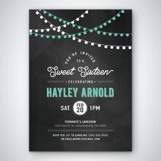 Sweet 16 Invite  Chalkboard  String Lights  Custom by LDDesignShop
