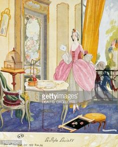 Scene in style of Louis XV, theatrical setting, watercolor, 1922 by Umberto Brunelleschi (1879-1949)