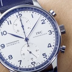 Discover the all new IWC Schaffhausen Portugieser Chronograph Bucherer BLUE: mm stainless steel case. Iwc Chronograph, Stainless Steel Case, Omega Watch, 9 Mm, Stuff To Buy, Blue, Accessories, Ornament