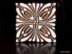 Talladas a mano India madera textil sello bloque cuadrado Art Deco diseño Floral