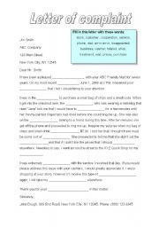 A restaurant complaint letter is usually sent by a frustrated english worksheet a letter of complaint spiritdancerdesigns Images