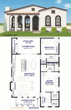 small spanish contemporary plan - Contemporary Adobe House Plans