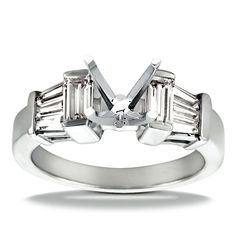 14k White Gold Diamond Accent Engagement Ring