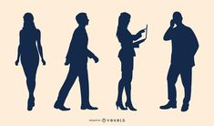 Vector set featuring four silhouettes of business people in different activities: standing, walking, standing with a laptop and talking over the phone. Powerpoint Free, Creative Powerpoint, Electronic Media, Shirt Maker, Silhouette Vector, Layout Template, Create A Logo, Business Women, Layout Design