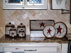 Hand Painted Primitive Star Kitchen Decor