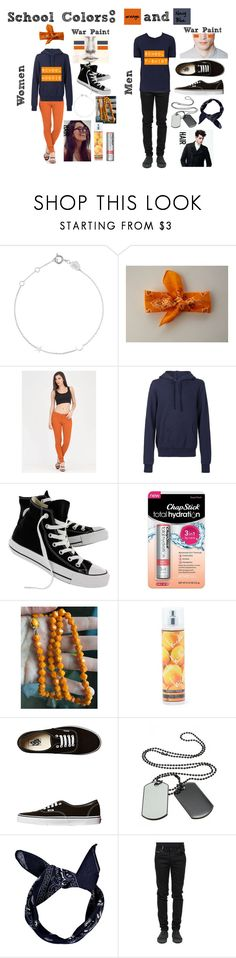 """""""School Spirit: Pep Rally (Orange & Navy Blue)"""" by emily102901 ❤ liked on Polyvore featuring Estella Bartlett, 321, Converse, Chapstick, Nicole Miller, Vans, Boohoo, County Of Milan and Fioroni"""