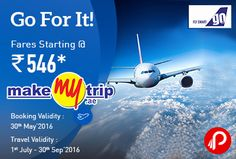 MakeMyTrip is offering #GoAirSaleFare Starting from Rs.546 on #Domestic #Flights. Book Validity: 27th May'16 to 30th May'16, Travel Validity: 1st July'16 to 30th Sept'16. Origin City: Bengaluru Rs.546, Mumbai Rs.730, Delhi Rs.888, Patna Rs.979, Pune Rs.1182, Kolkata Rs.1579.  http://www.paisebachaoindia.com/go-air-sale-domestic-flights-fare-starting-rs-546-makemytrip/