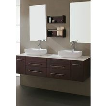 "View the Virtu USA UM-3051 Augustine 60"" Bathroom Vanity Cabinet - Includes Countertop, Two Sinks, Two 1.5 GPM Faucets With Pop-Up Drain Assemblies and Mirror at FaucetDirect.com."