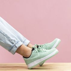 Nike Mint Green Suede Air Force 1 The Nike Air Force 1 07 Suede Women's Shoe revamps the 1982 basketball original with a low profile and perforated suede upper for a streamlined look and ventilated comfort.   Women's size 7.   NEW in box (no lid) Nike Shoes Sneakers