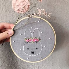 Miffy Bunny Embroidery frame Children's room flower wreath birthday birth baptism child baby… Hand Embroidery Patterns Free, Hand Embroidery Videos, Embroidery Flowers Pattern, Baby Embroidery, Creative Embroidery, Simple Embroidery, Hand Embroidery Stitches, Embroidery Hoop Art, Floral Embroidery