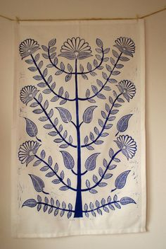 """block printed tea towel. DO THIS!  but with simple 5""""x 5"""" block in rows or something, permanent fabric paint, hem my own dish towels from muslin if I have to."""