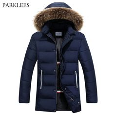 Long Parka Men 2017 Winter Warm Mens Jackets and Coats Hooded Big Fur Mens overcoat Casual Slim Fit Manteau Homme Hiver Navy 3XL #Affiliate