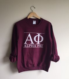 New Alpha Phi Maroon Stripe Crewneck Sweatshirt // Size S-XL // You Pick Color by WildKardVintage on Etsy https://www.etsy.com/listing/477774265/new-alpha-phi-maroon-stripe-crewneck