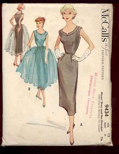 McCalls 9434 - UNCUT Vintage 50s Cocktail or Dance Dress Pattern with detachable Tulle skirt