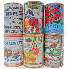 Gorgeous Vintage Printables for Upcycling Cans, scrapbooking and decoupage. 6 different sets include French ephemera, perfume and vintage ads, antique seed catalogue advertising and bonus pulp fiction inspired set. Vintage Tins, Vintage Crafts, Vintage Labels, Vintage Packaging, Printable Vintage, Printable Labels, Printables, Etiquette Vintage, Paper Crafts