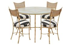 Shop dining table & chair sets at Chairish, the design lover's marketplace for the best vintage and used furniture, decor and art. Table And Chair Sets, Dining Table Chairs, Bistro Set, Faux Bamboo, Living Room, Interior, Indoor Outdoor, Furniture, Outdoors