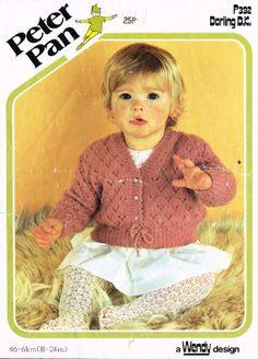 Peter Pan 392 baby matinee coat vintage knitting by Ellisadine, £1.00