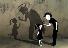 Um garoto segurava em suas mãos duas maçãs.     Seu pai se aproximou e lhe pediu com um belo so...