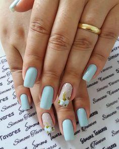 24 Modelos de Unhas decoradas românticas com flores Nail Polish Designs, Nail Polish Colors, Nail Art Designs, Blue Nails, My Nails, Different Nail Shapes, Dream Nails, Flower Nails, Beautiful Nail Art